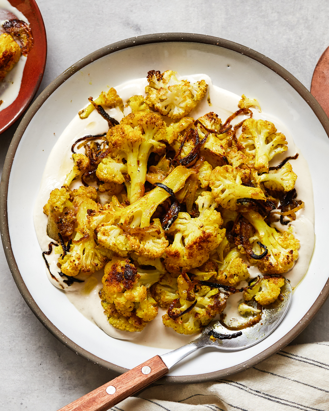 Roasted Curried Cauliflower Tahini Sauce Whole30 Paleo Primal Gourmet Easy Recipe Pantry Friendly