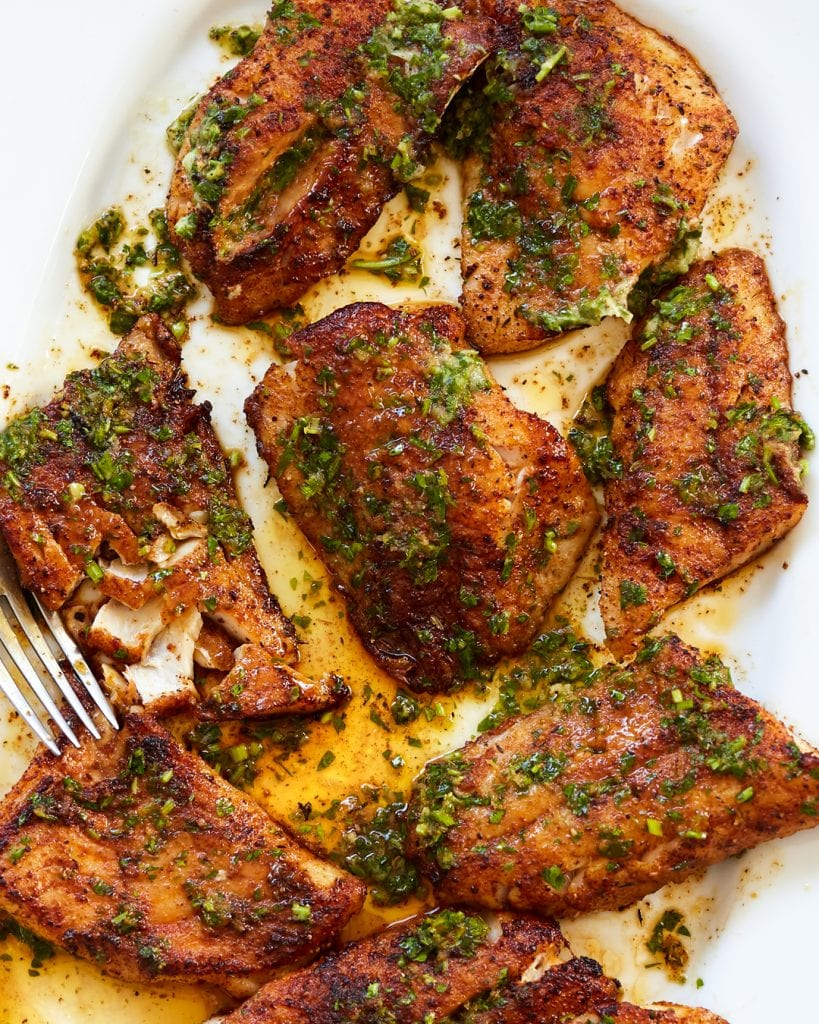 Whole30 Blackened Snapper with Lemon, Garlic and Herb Butter Paleo Primal Gourmet Easy Fish Recipe