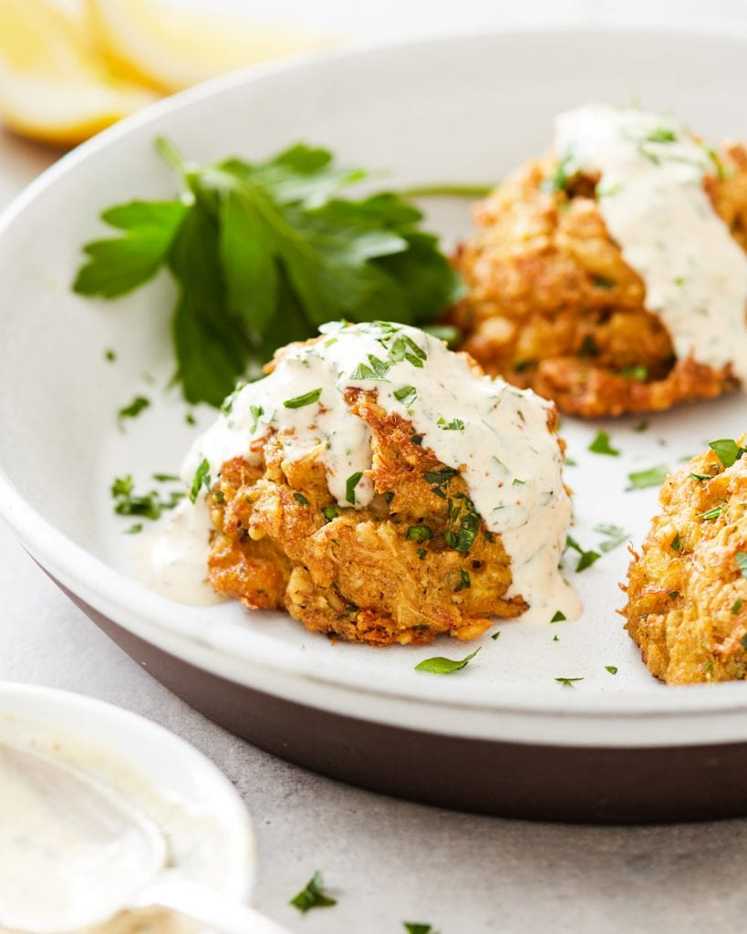 crab cakes with dijonnaise and grain-free cracker crust