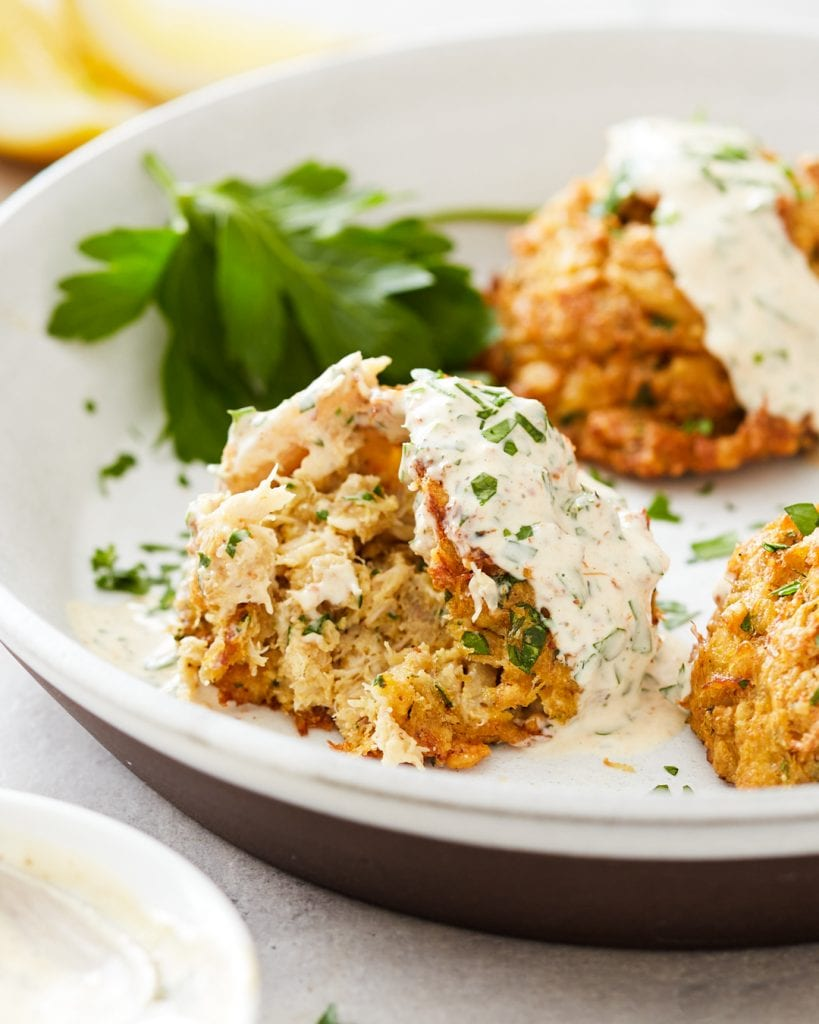 tender and juicy baked crab cakes with dijonnaise sauce paleo