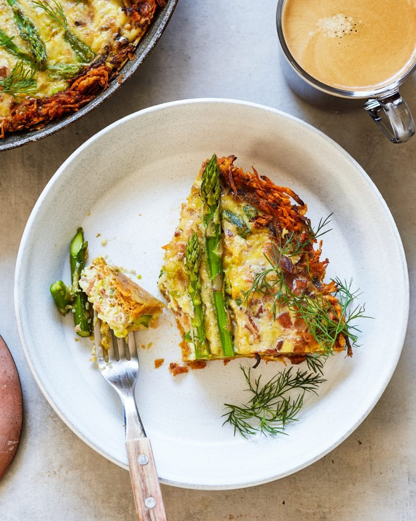 Bacon Leek and Asparagus Quiche Sweet Potato Crust Paleo Primal Gourmet Whole30 Spring Brunch
