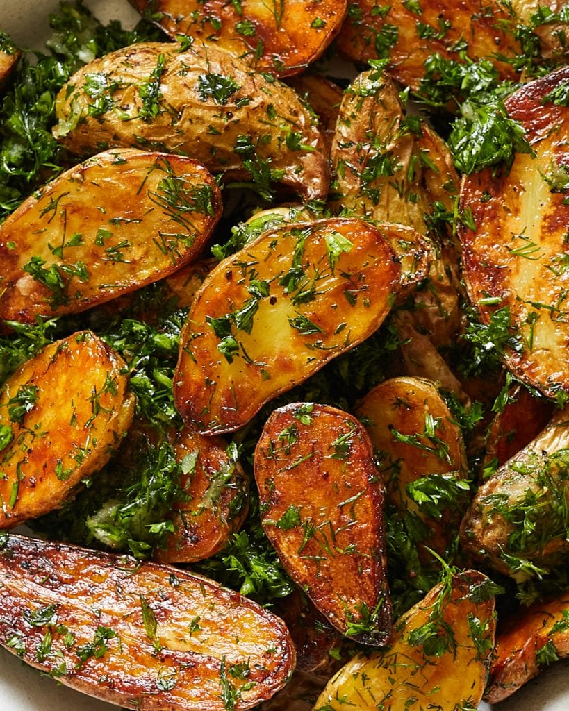 Perfectly Roasted Garlic and Herb Potatoes Summer Side Dish