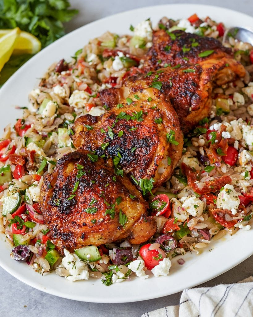 Mediterranean Orzo Salad with Pan-Roasted Chicken Thighs Primal Gourmet