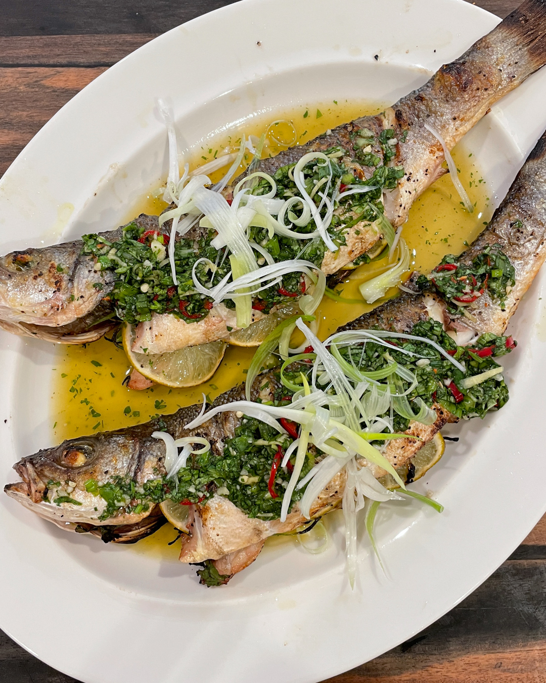 Whole Grilled Branzino with Chile Basil Ginger Sauce