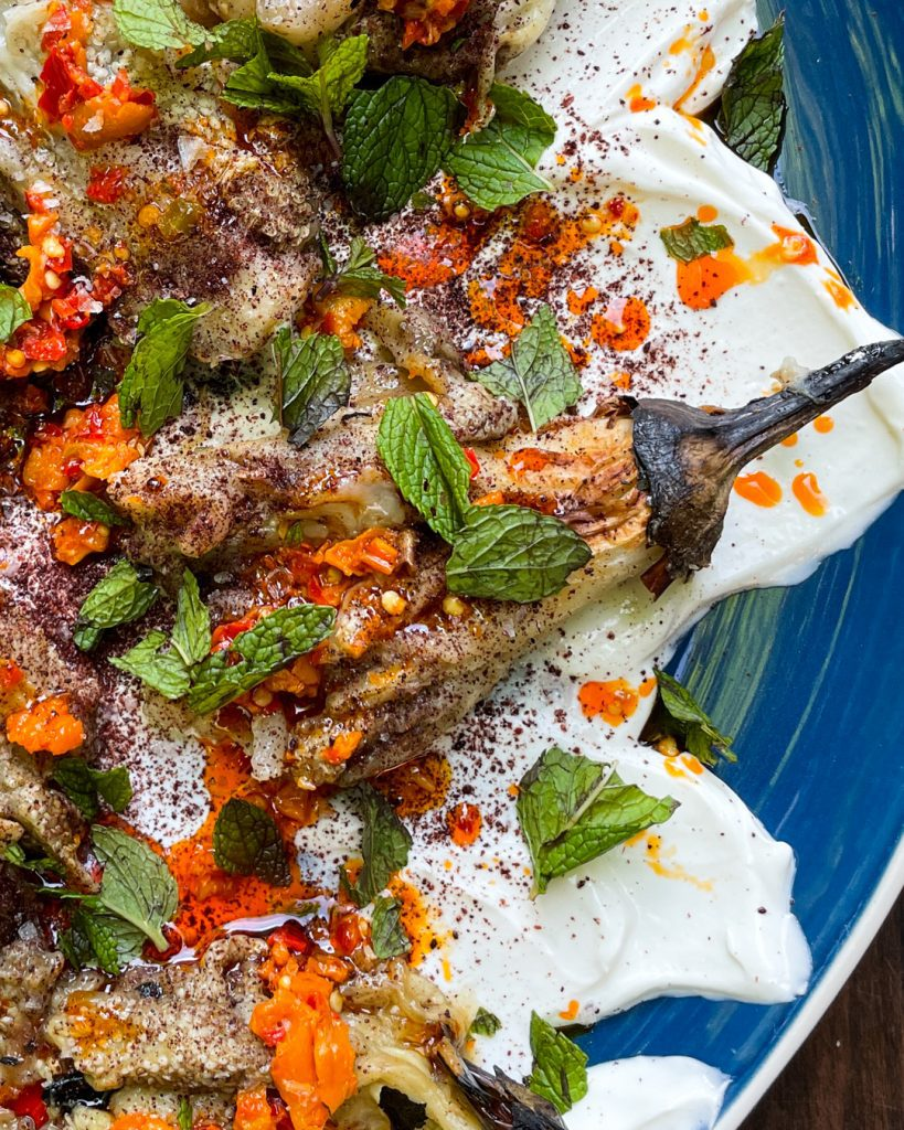 Grilled Eggplant with Whipped Feta Sumac Mint Primal Gourmet Easy Vegetarian Recipe