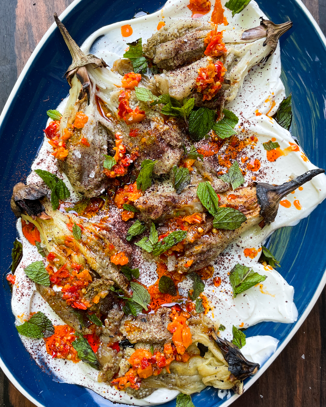 Grilled Eggplant with Whipped Feta, Sumac and Mint