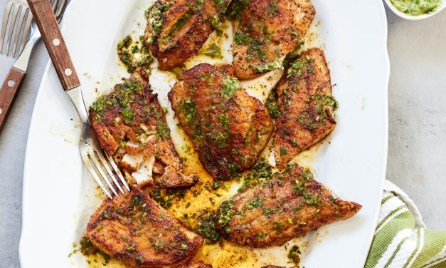 Blackened Snapper with Lemon, Garlic & Herb Butter (Whole30, Paleo)