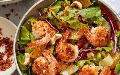 Coconut Shrimp Salad with Sesame-Ginger Vinaigrette