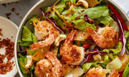 Coconut Shrimp Salad with Sesame-Ginger Vinaigrette