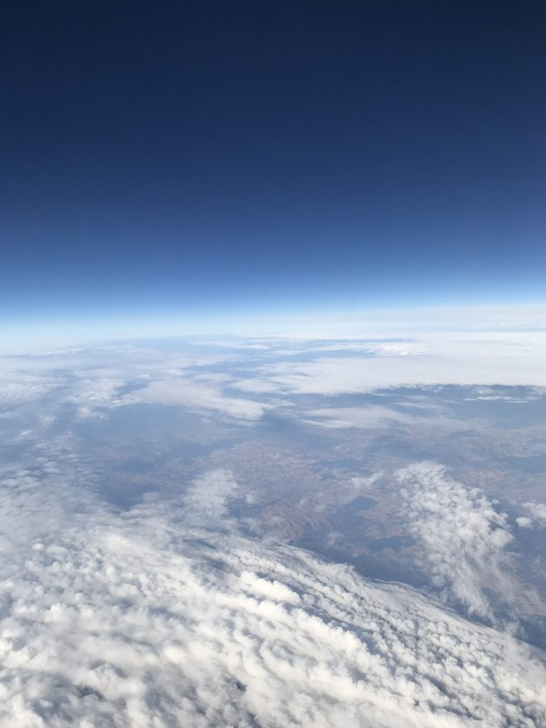 Somewhere above the clouds en route to Romania