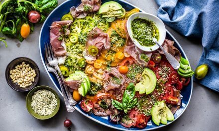 Heirloom Tomatoes, Prosciutto and Pesto Salad