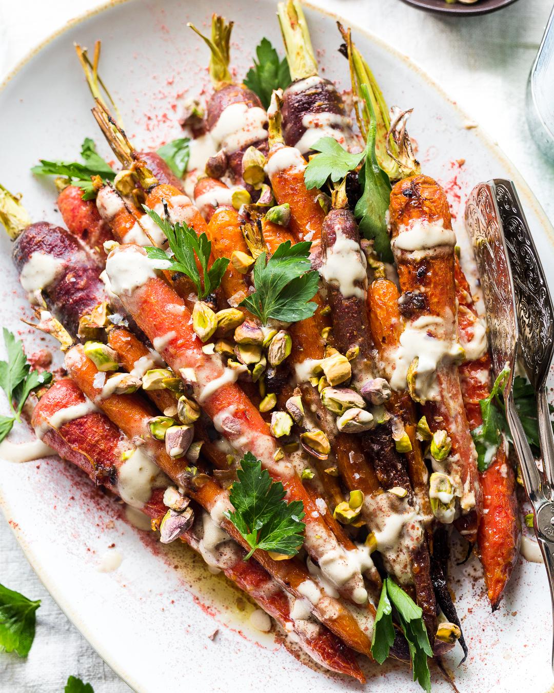 Harissa-Honey Roasted Carrots