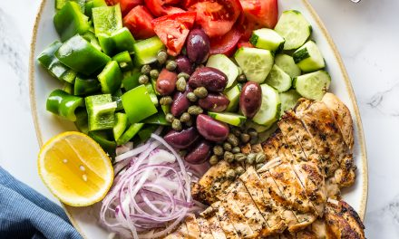 Grilled Chicken Greek Salad with Coconut Tzaziki