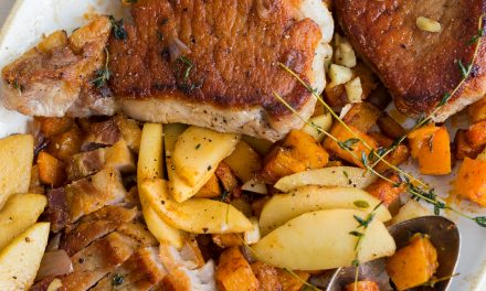 Pan-Seared Pork Chops, Spiced Butternut Squash and Fried Apples