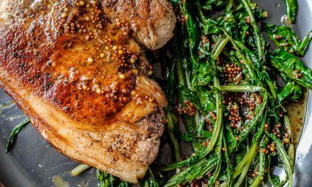 Pork Chop, Dandelion Greens & Maple-Mustard