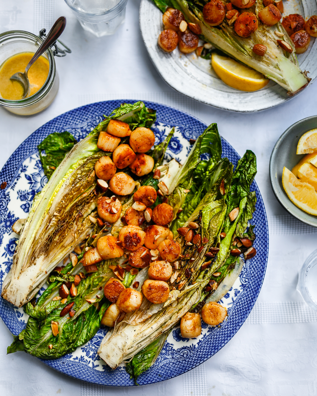 Charred Caesar Salad with Scallops and Almonds