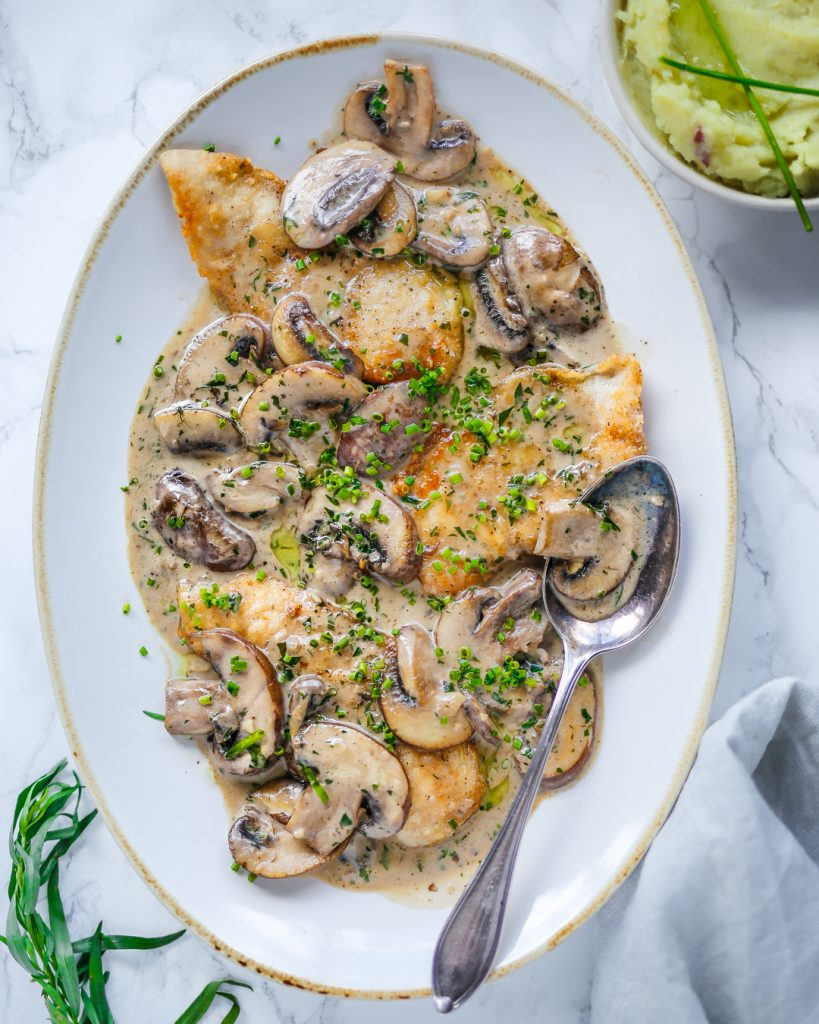 Paleo Chicken Mushroom Tarragon Cream Sauce Whole30 Primal Recipe Easy 20 minute meal summer