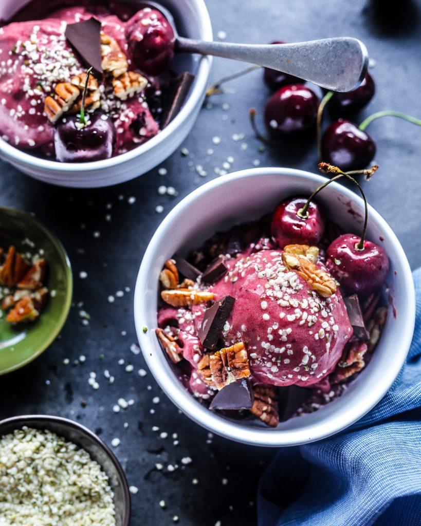Cherry Nice Cream Paleo Primal Gourmet Vegan Vegetarian Dairy Free Ice Cream Recipe Easy Summer