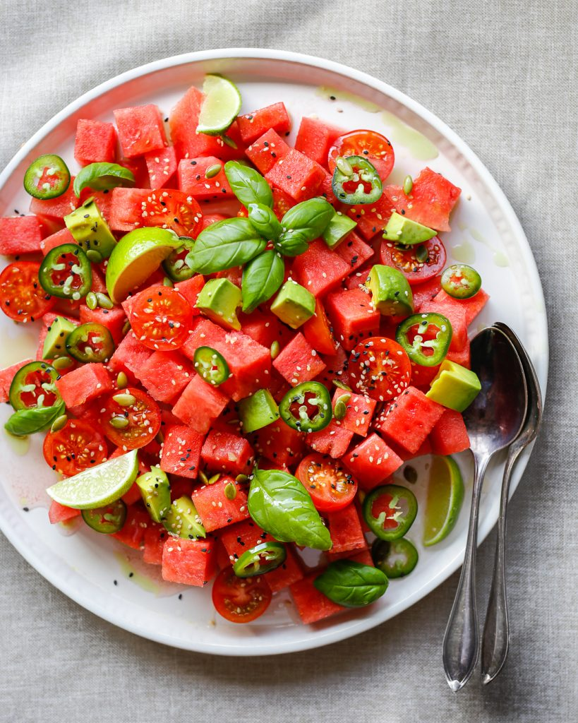 watermelon avocado jalapeno salad pale primal gourmet whole30 recipe summer bbq idea