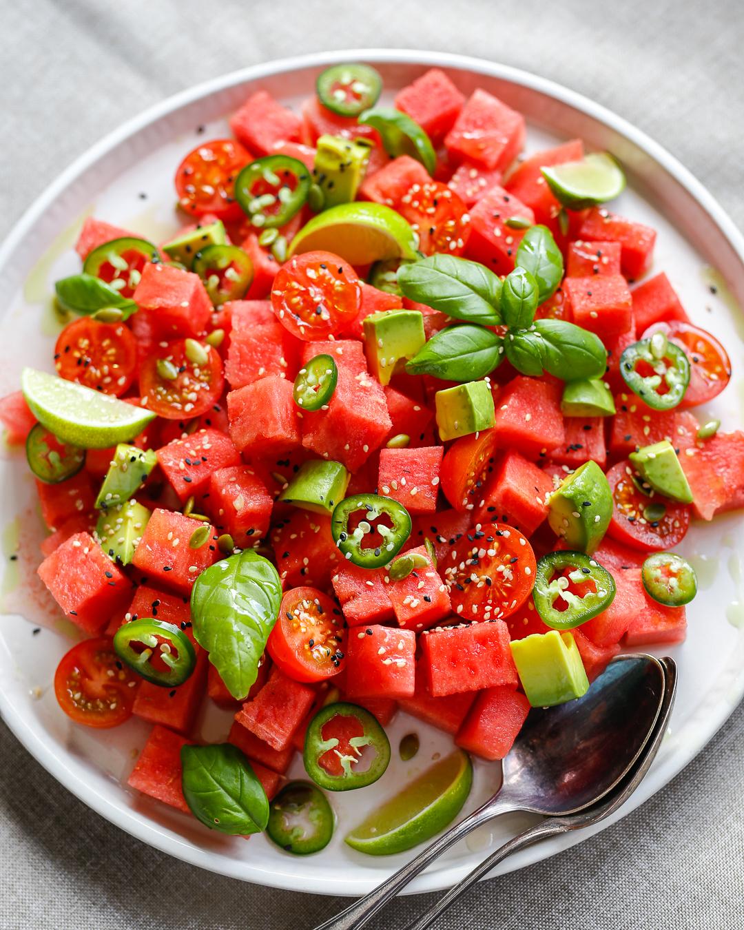 Whole30 Watermelon Tomato and Jalapeño Salad