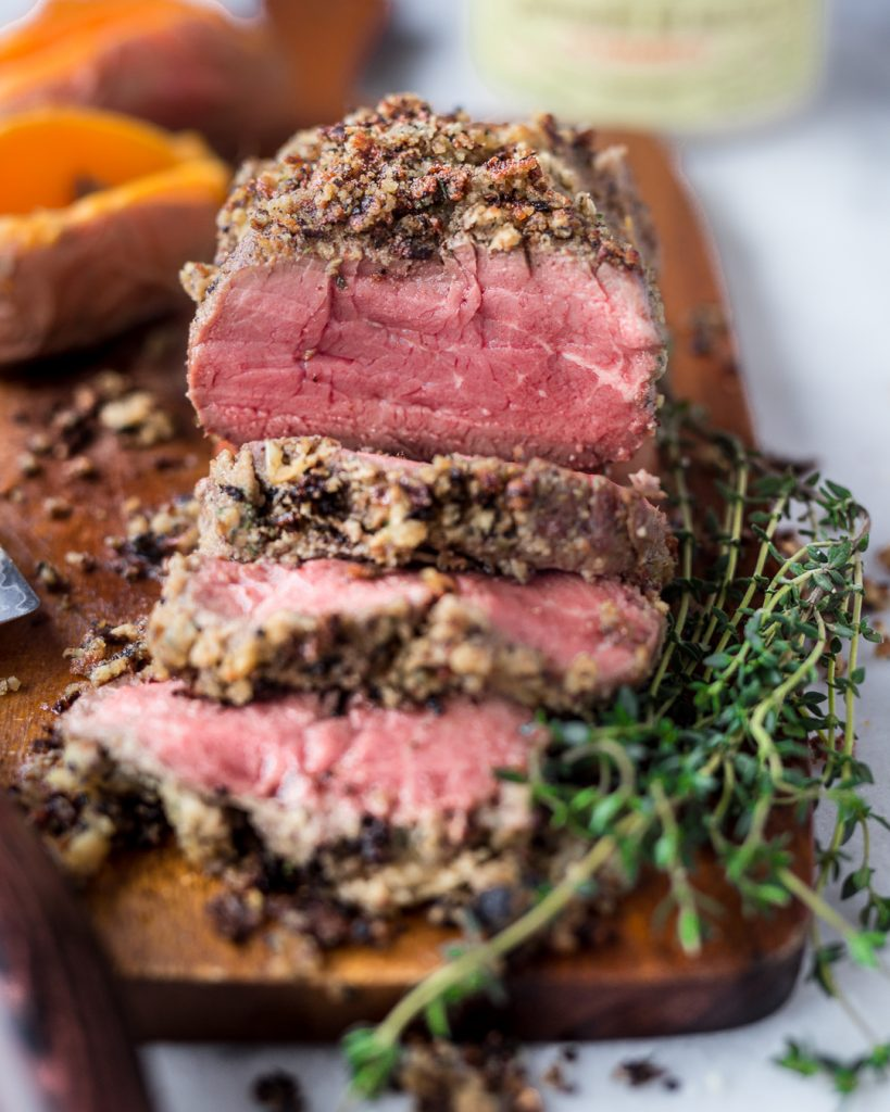 Herb & Almond Crusted Beef Tenderloin Paleo Primal Gourmet Whole30 Holiday Recipe