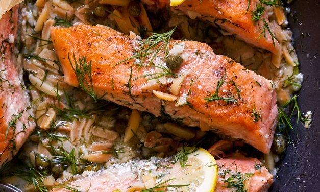 Salmon with Almond Caper Sauce – Whole30, Paleo