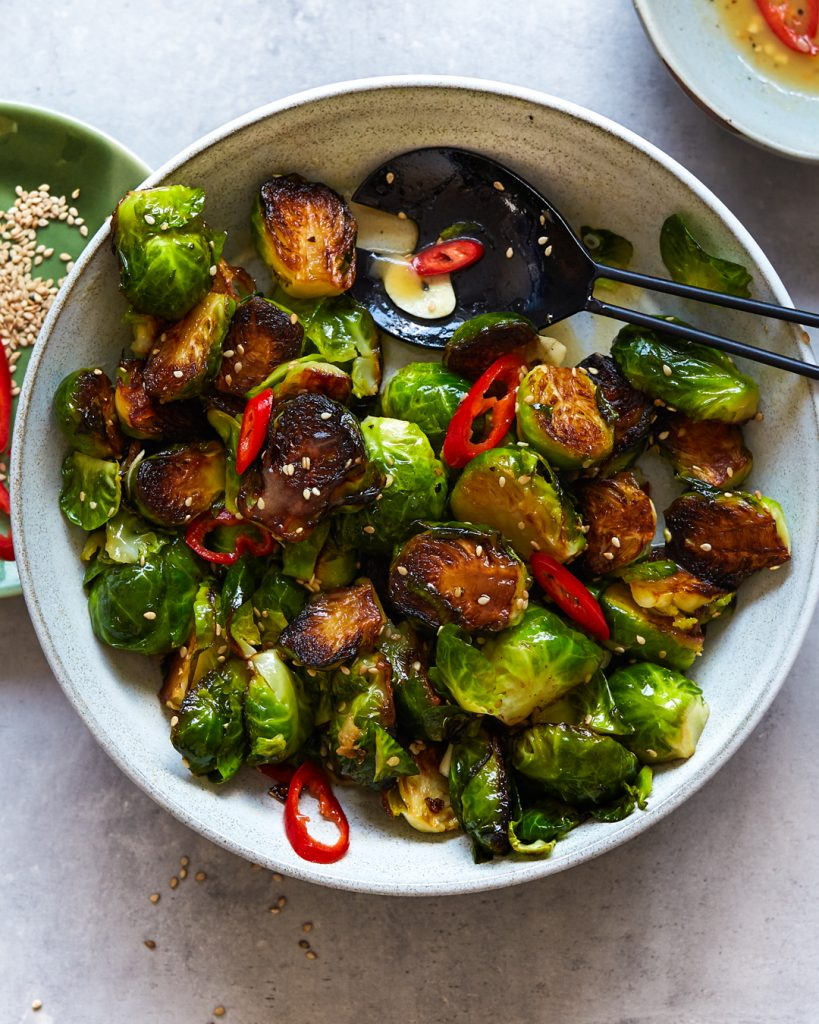 Sesame Garlic Brussels Sprouts Easy Paleo Primal Gourmet Whole30 Thanksgiving Christmas Side Dishes