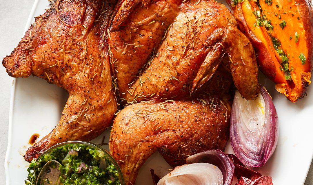 Traeger Roast Chicken with Roasted Onion Salsa Verde