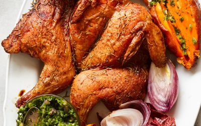 Traeger Roast Chicken with Roasted Onion Salsa Verde