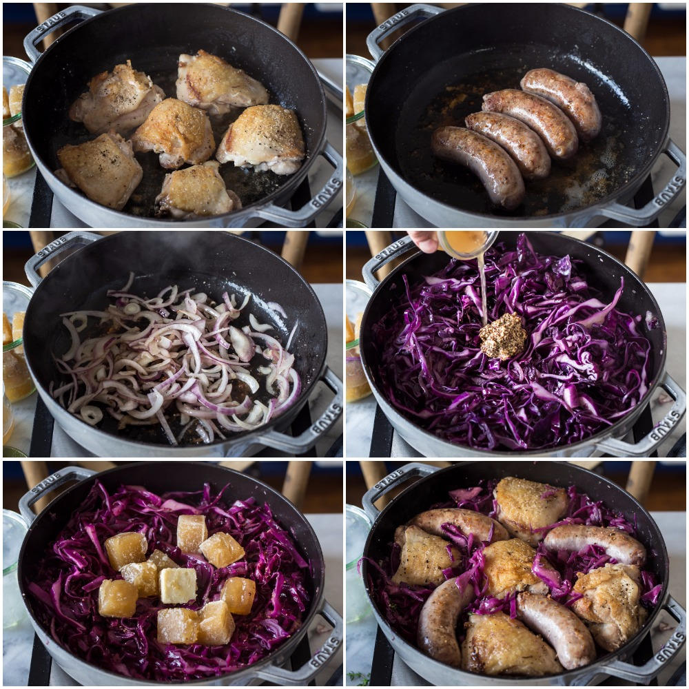 braised cabbage with chicken and sausage primal gourmet paleo whole30 recipe